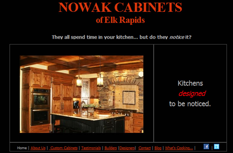 Nowak Cabinets website image